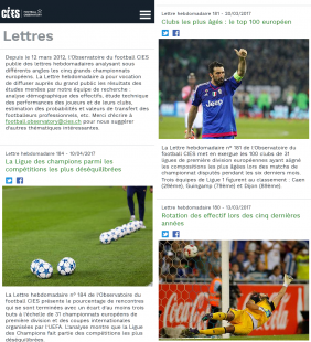 Page des publications hebdomadaires (version mobile)